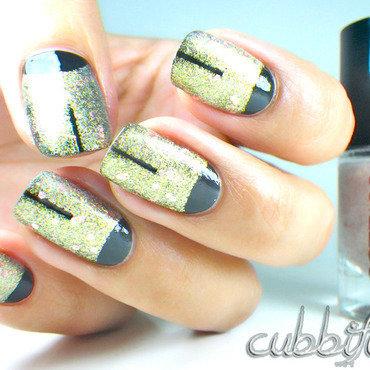 Black & Gold nail art by Cubbiful