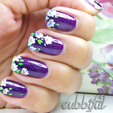 Violets or Waterlillies? nail art by Cubbiful