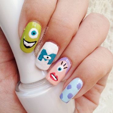 Monster Inc nail art by Mayang Anindita