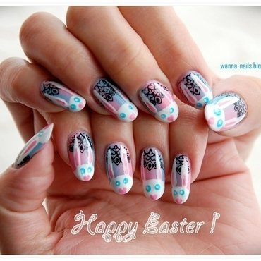 Easter Bunnies nail art by Oana Chiciu