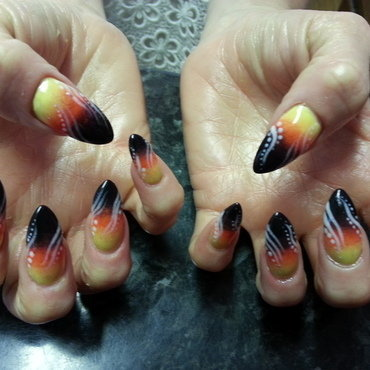Tropical sunset nail art by thenailfairy