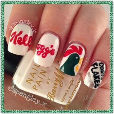 Kellogg's Corn Flake Nail Art nail art by Nicole Louise