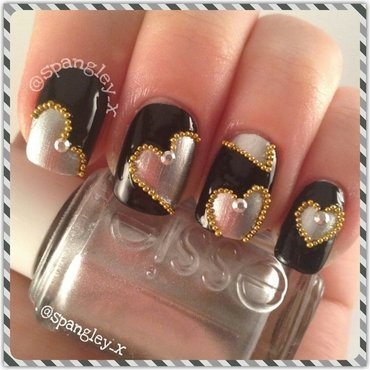 Silver Hearts nail art by Nicole Louise
