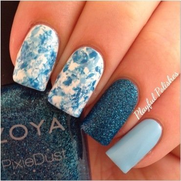 Blue Seran Wrap Nail Art nail art by Playful Polishes