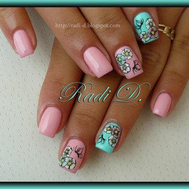 Pink & Mint nail art by Radi Dimitrova