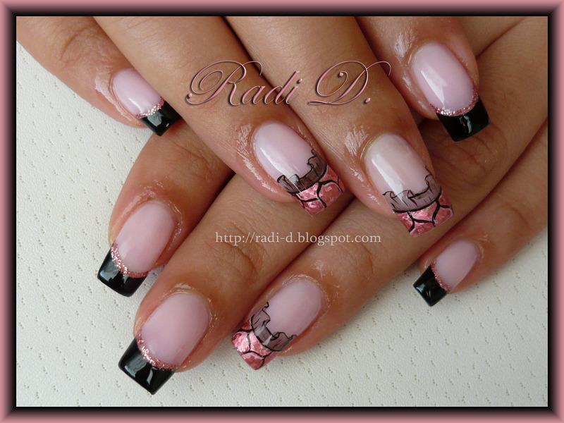 Black French, Pink Foil & Lace nail art by Radi Dimitrova ...