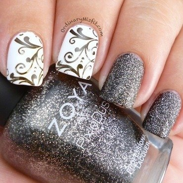 Monochrome Texture nail art by Michelle