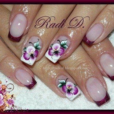 Purple French with Violets nail art by Radi Dimitrova