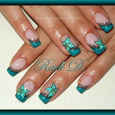 Turquoise Diagonal French nail art by Radi Dimitrova