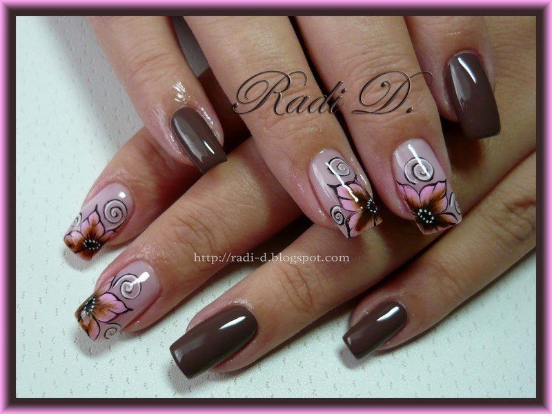 Brown pink flowers nail art by radi dimitrova nailpolis brown pink flowers nail art by radi dimitrova prinsesfo Image collections