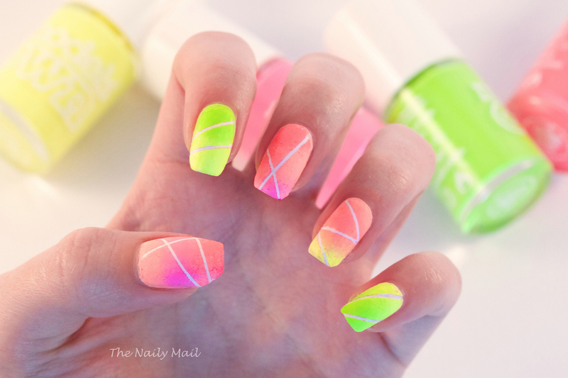 Neon gradient nail art by the naily mail nailpolis museum of neon gradient nail art by the naily mail prinsesfo Gallery