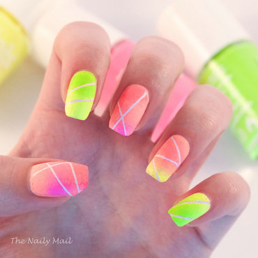 Neon Gradient nail art by The Naily Mail