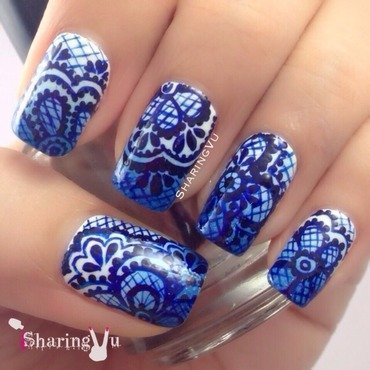 💙💙the blueeeeee💙💙 nail art by SharingVu