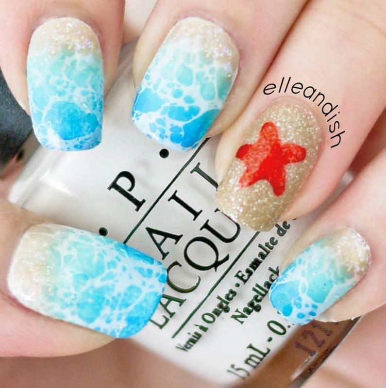 Beach Nails (Simple Version) nail art by elleandish