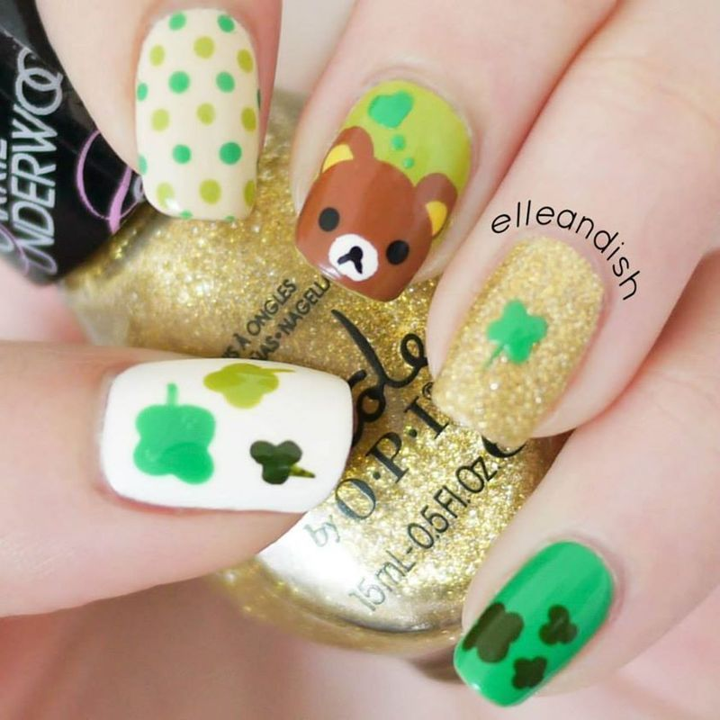 St. Patrick's Day Rilakkuma Nails nail art by elleandish