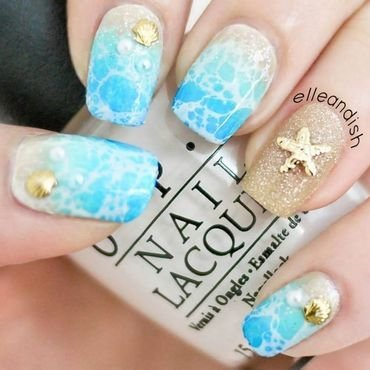 Beach Nails (Glam Version) nail art by elleandish