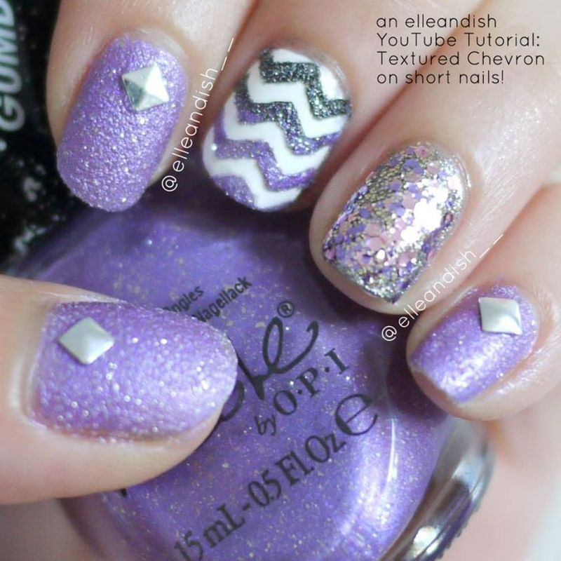 Textured Chevron nail art by elleandish