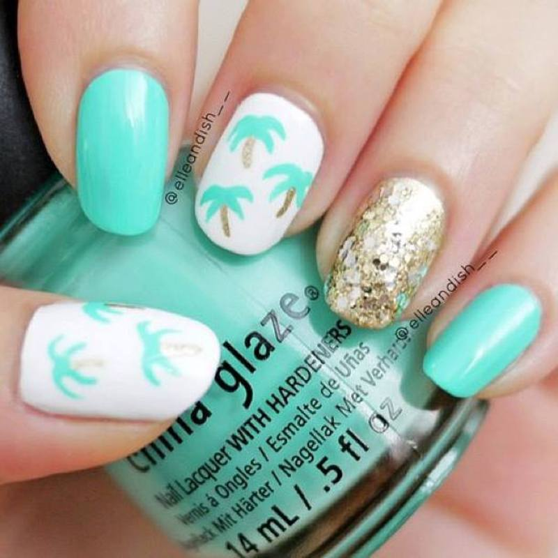 Toothpick Nail Art Designs: Easy Palm Tree Nails (Using A Toothpick!) Nail Art By