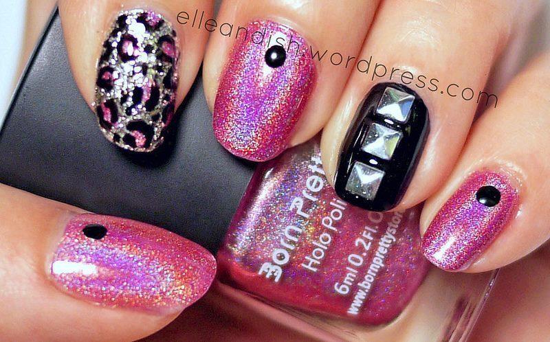 Leopard & Studs nail art by elleandish