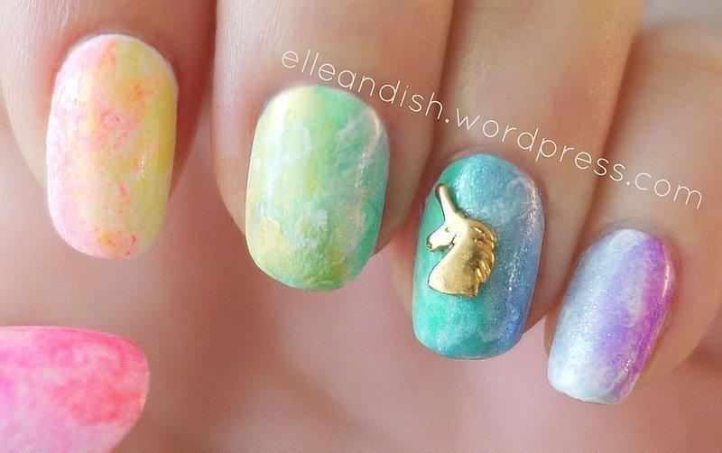 Rainbow Watercolor Nails nail art by elleandish