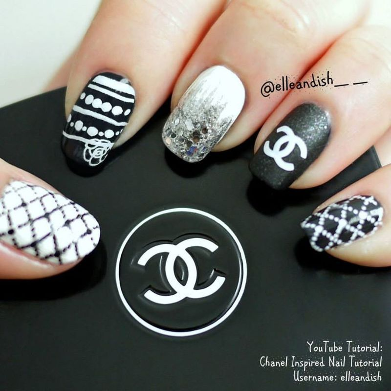 Chanel Inspired Nails nail art by elleandish