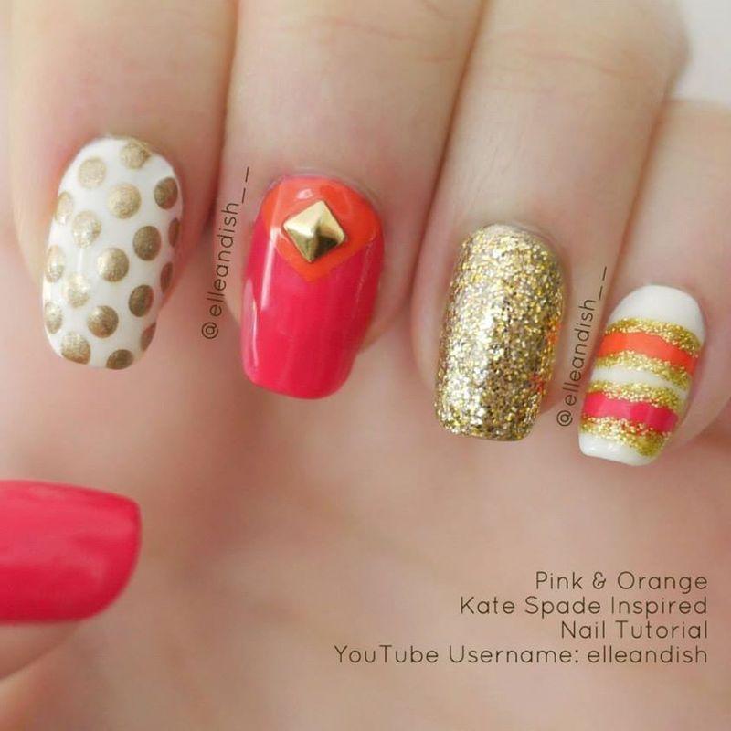 Kate Spade Inspired Nails nail art by elleandish