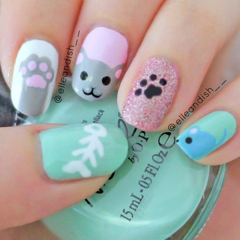 Kitty Cat Nails nail art by elleandish - Nailpolis: Museum of Nail Art