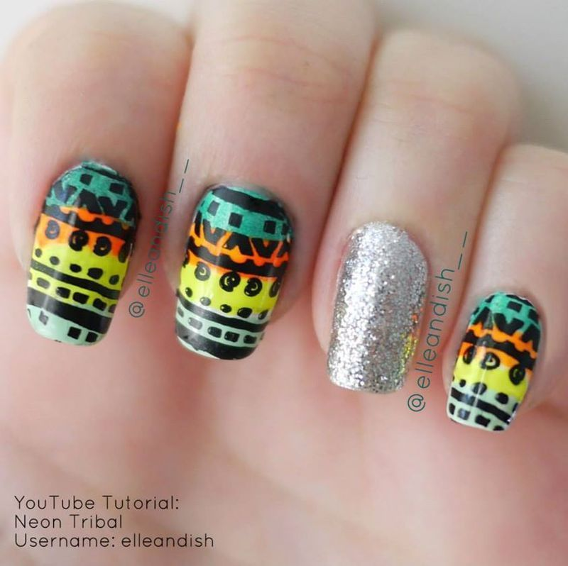Tribal Nails nail art by elleandish