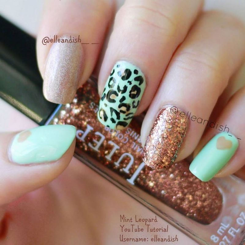 Mint leopard copper nail art by elleandish nailpolis museum mint leopard copper nail art by elleandish prinsesfo Choice Image