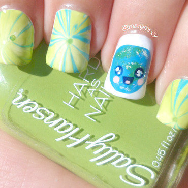 Water Marble Kawaii Earth Day Nail Art nail art by madjennsy Nail Art