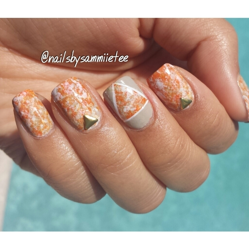 Orange Speckled Triangle nail art by NailsBySammiieTee