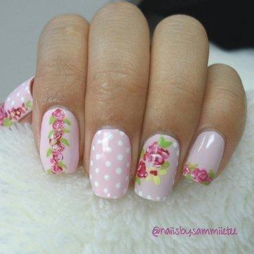 Pink Florals x Polka Dots nail art by NailsBySammiieTee