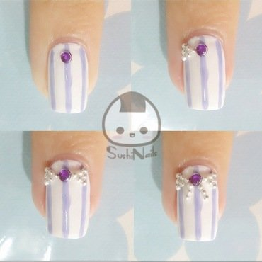 Ribbon Embellishment Pictorial nail art by sushinails