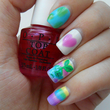 Watercolour Earth Day Love nail art by Lisa Yabsley