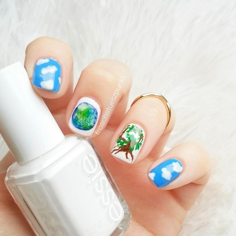 planet earth nail art by froschstuetzpunkt