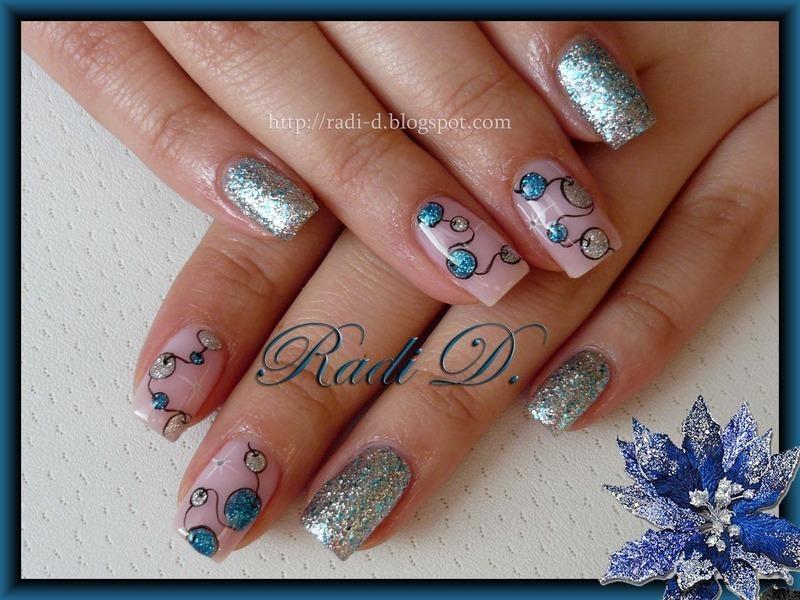 Garland in Blue & Silver nail art by Radi Dimitrova
