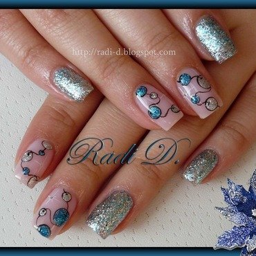 Garland in Blue & Silver nail art by Radi Dimitrova