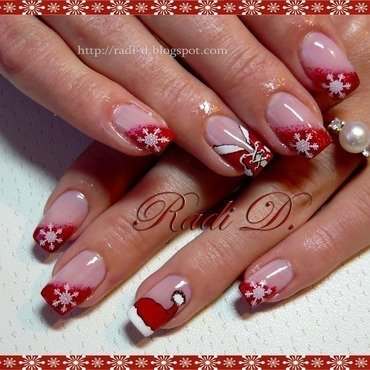 Christmas Hat & Corset nail art by Radi Dimitrova