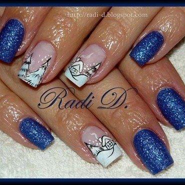 Snowie Houses nail art by Radi Dimitrova