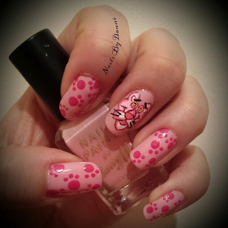 Pink Panther inspired nail art by Danielle  Hails