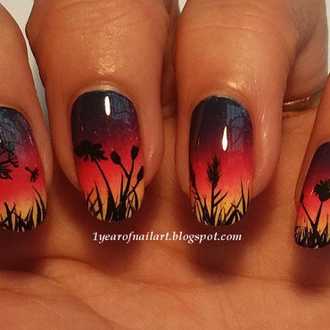 Sunset nails nail art by Margriet Sijperda