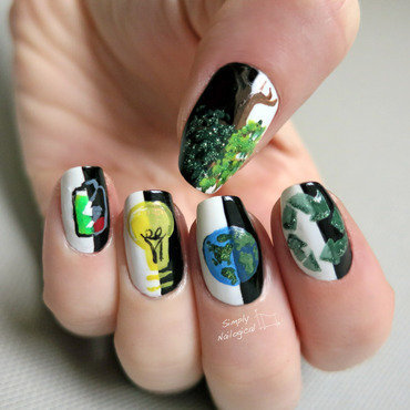Earth Day: Lights on, lights out nail art by simplynailogical