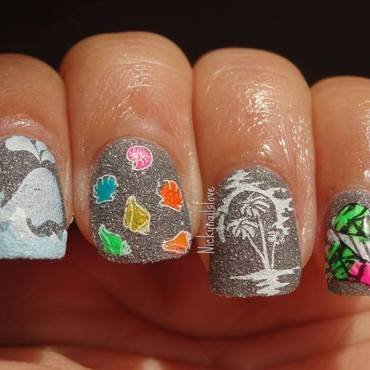 A day on a beach nail art by Nicky