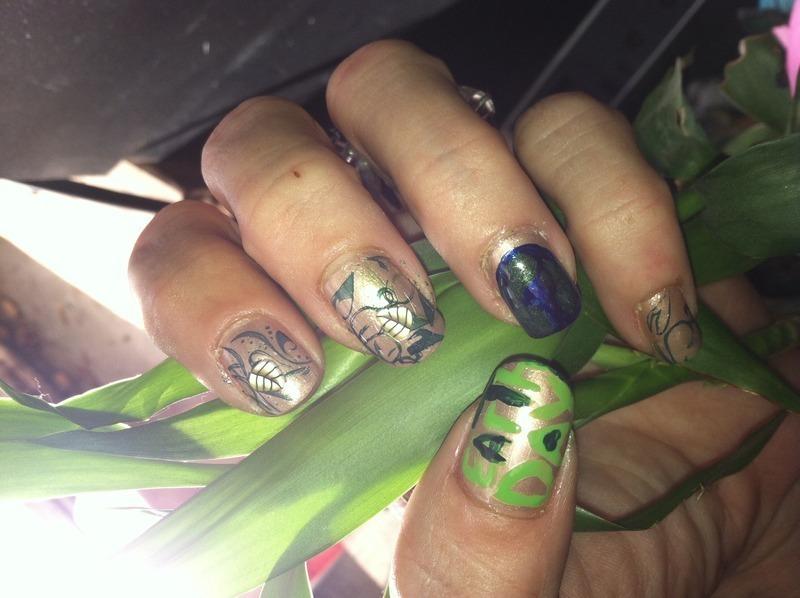 Go green! nail art by April Dolan