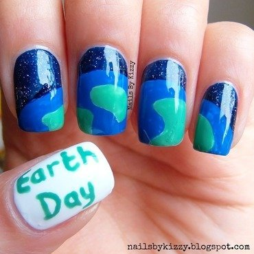 Earth Day nail art by Kizzy