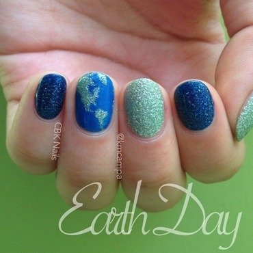 Earth Day Nails nail art by Kasey Campa