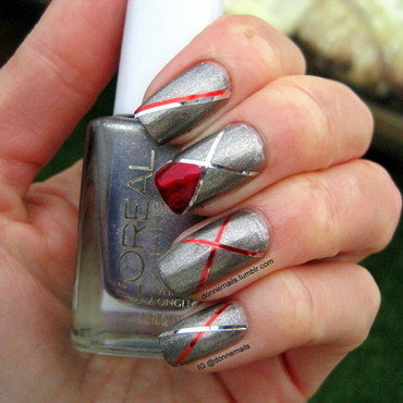 Silver and Red Striping nail art by Donner