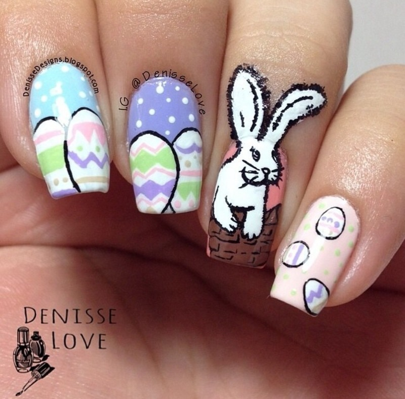 Easter Manicure nail art by Denisse Love