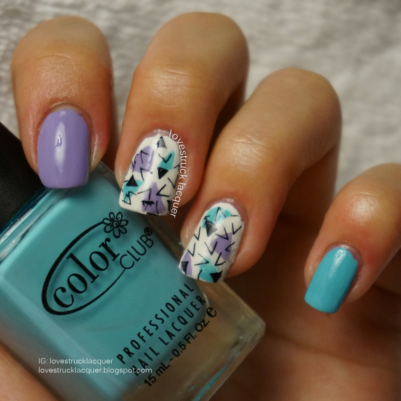 Triangle stamping mani nail art by Stephanie L