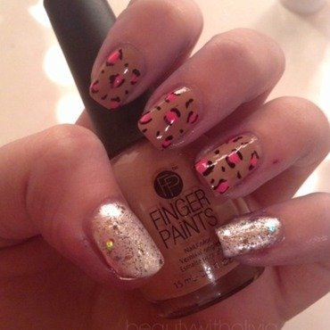 Diamond Pearl Leopard Nails! nail art by Olivia Schwab